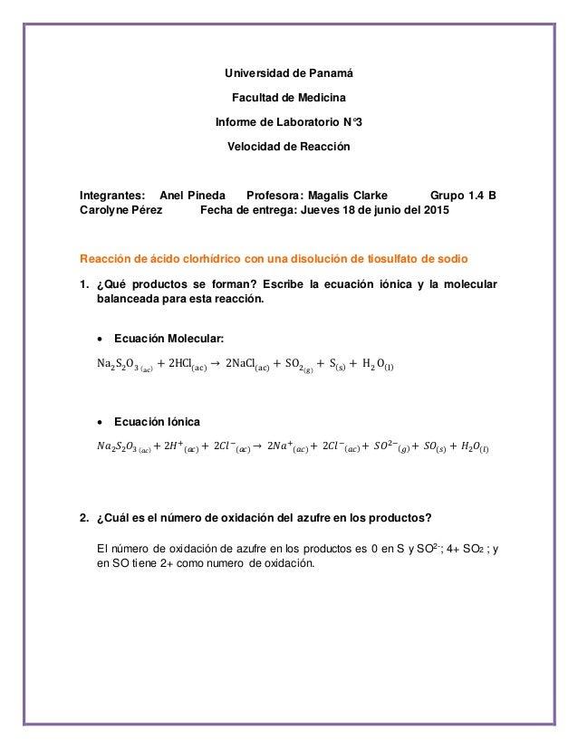 Universidad de Panamá Facultad de Medicina Informe de Laboratorio N°3 Velocidad de Reacción Integrantes: Anel Pineda Profe...