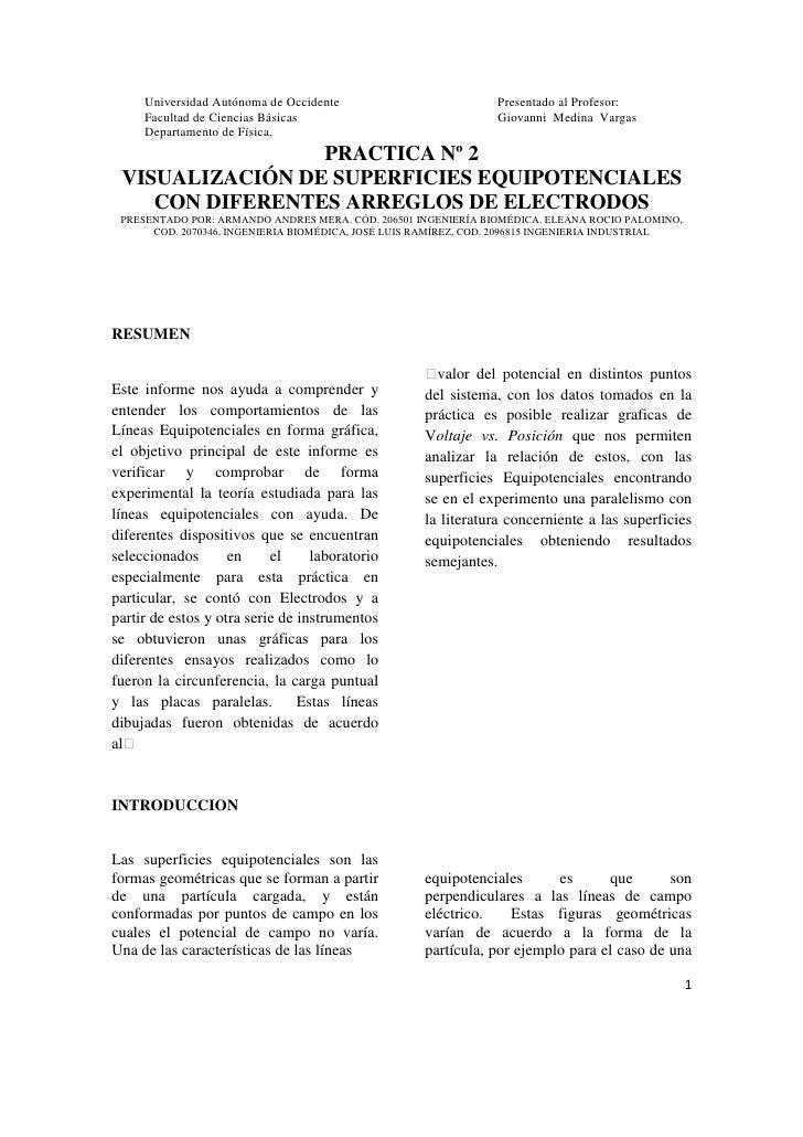 Universidad Autónoma de Occidente                         Presentado al Profesor:     Facultad de Ciencias Básicas        ...