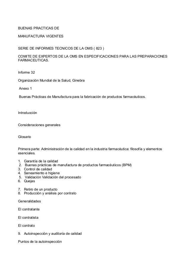 BUENAS PRACTICAS DE MANUFACTURA VIGENTES SERIE DE INFORMES TECNICOS DE LA OMS ( 823 ) COMITE DE EXPERTOS DE LA OMS EN ESPE...