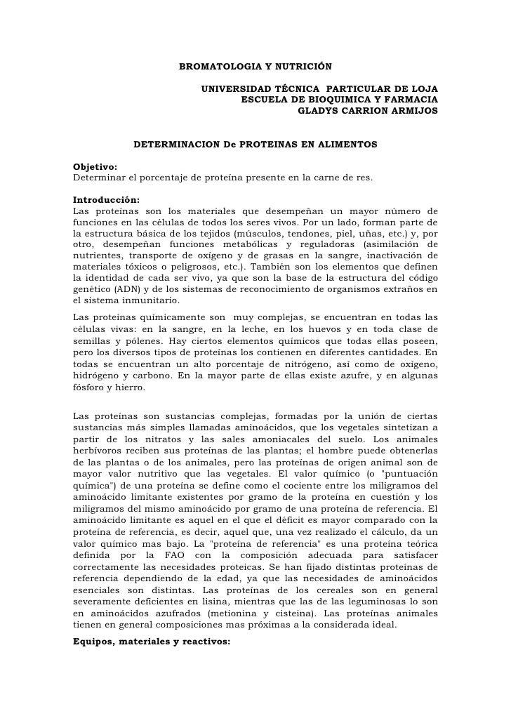 BROMATOLOGIA Y NUTRICIÓN                              UNIVERSIDAD TÉCNICA PARTICULAR DE LOJA                              ...