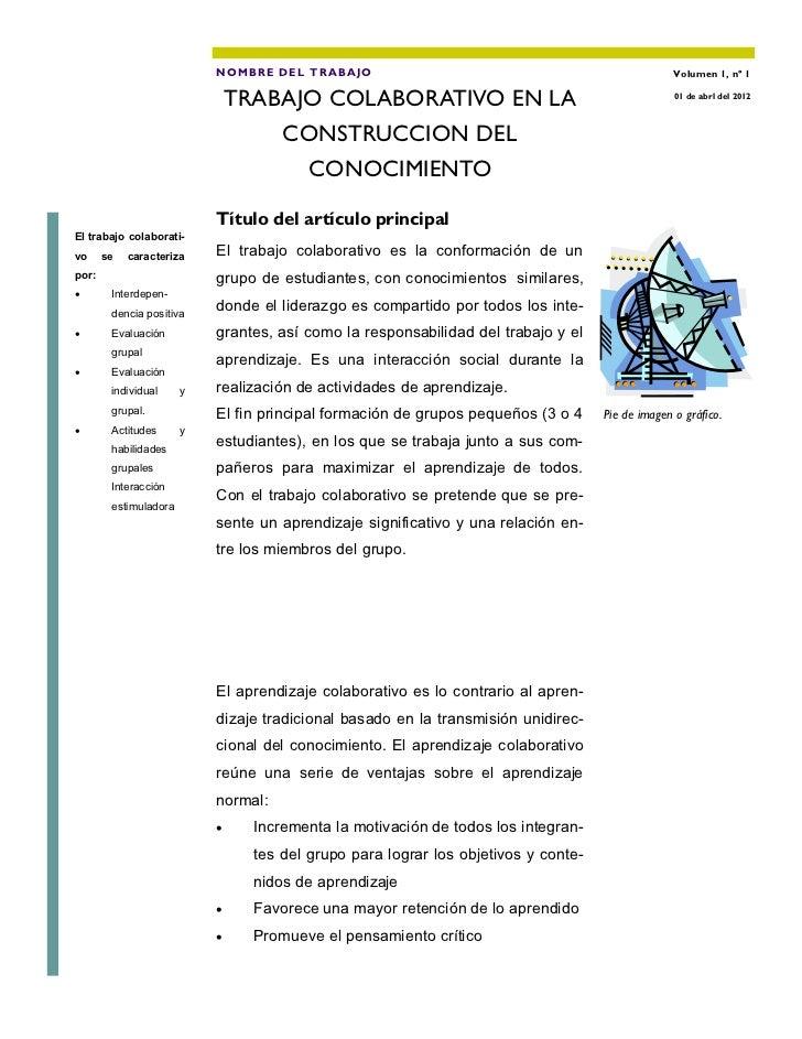 NOMBRE DEL TRA BAJO                                                    Volumen 1, nº 1                               TRABA...