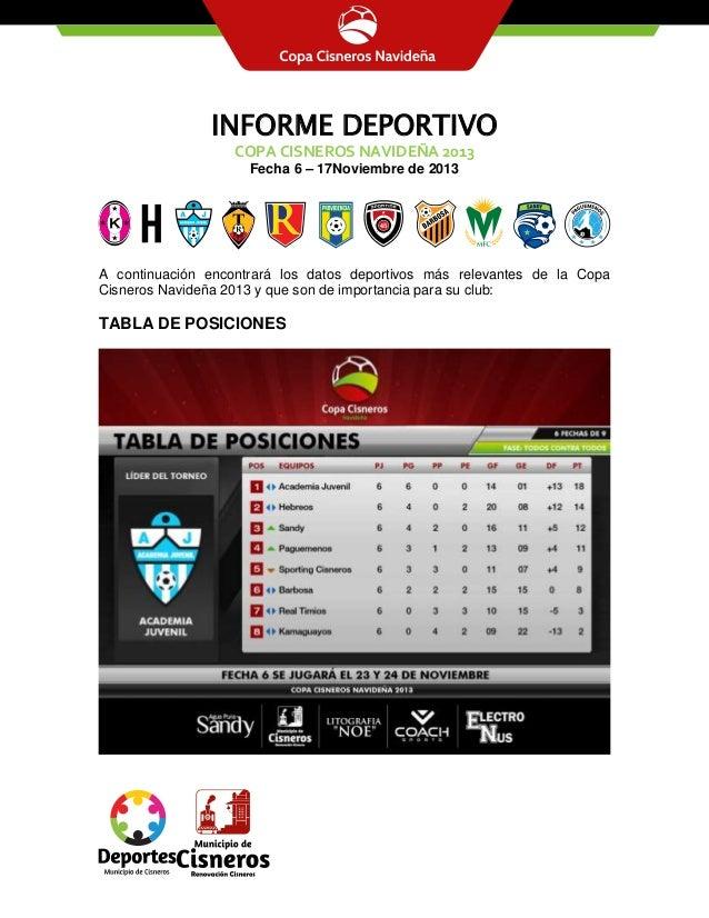 INFORME DEPORTIVO COPA CISNEROS NAVIDEÑA 2013 Fecha 6 – 17Noviembre de 2013  A continuación encontrará los datos deportivo...