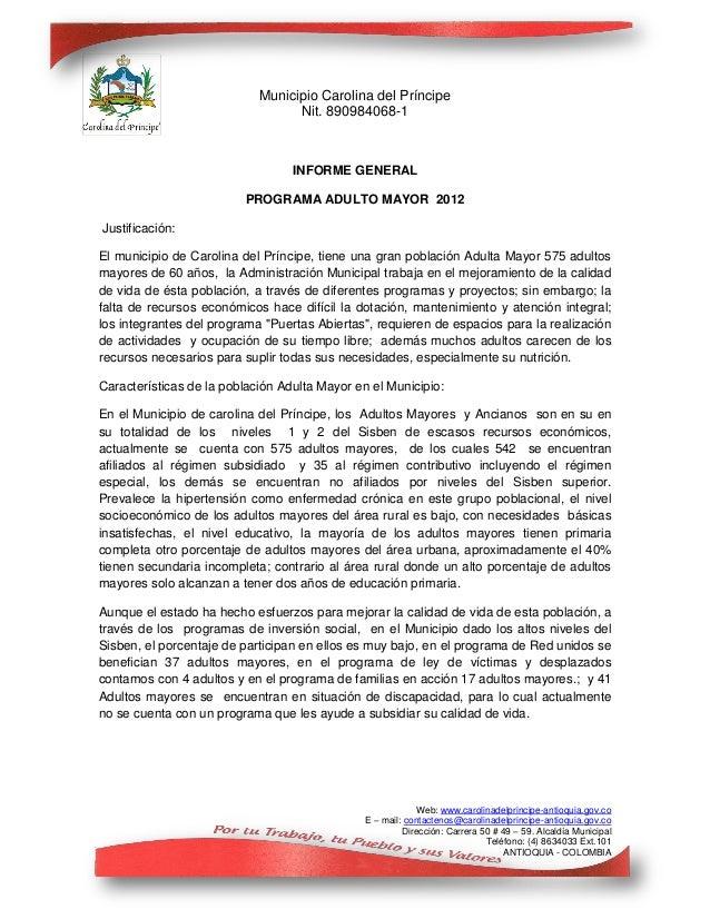 Municipio Carolina del Príncipe                                  Nit. 890984068-1                                  INFORME...