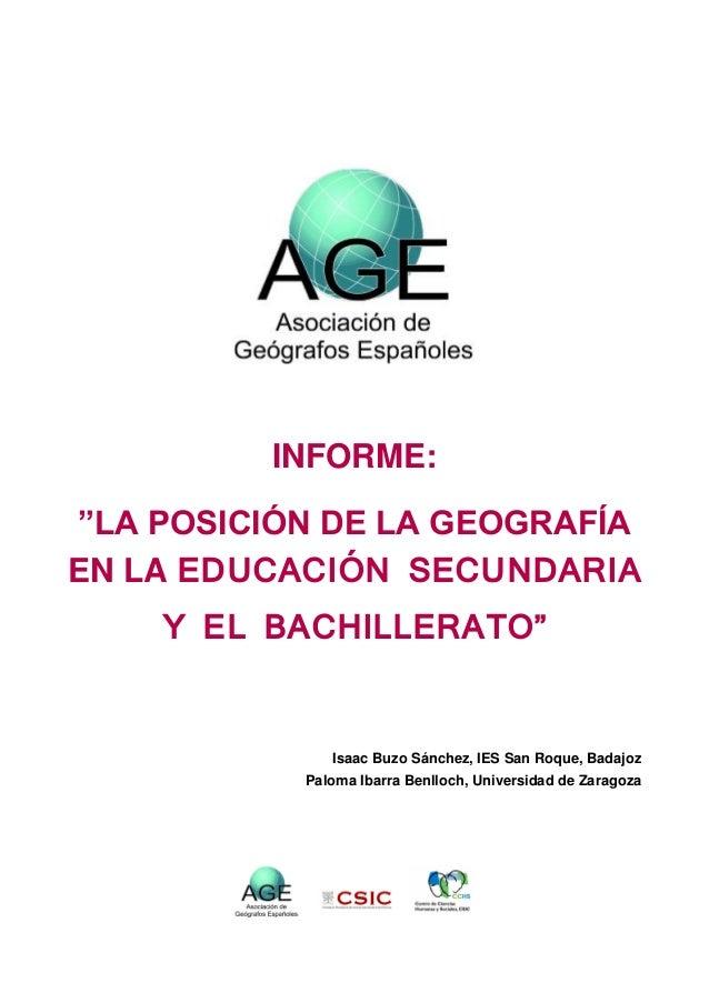 Informe de la Asociación de Geógrafos Españoles sobre la posición de la Geograia en Secundaria