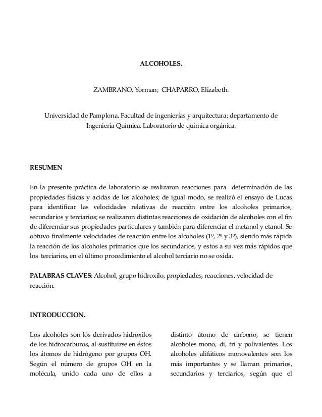 ALCOHOLES. ZAMBRANO, Yorman; CHAPARRO, Elizabeth. Universidad de Pamplona. Facultad de ingenierías y arquitectura; departa...