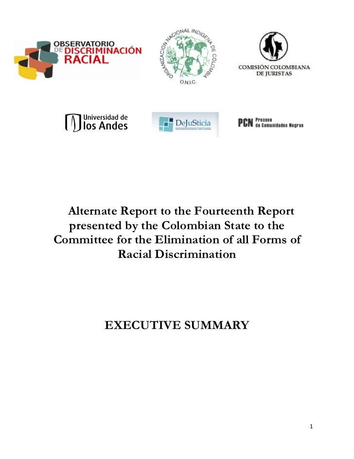 Alternate Report to the Fourteenth Report presented by the Colombian State to the Committee for the Elimination of all Forms of Racial Discrimination - Executive summary