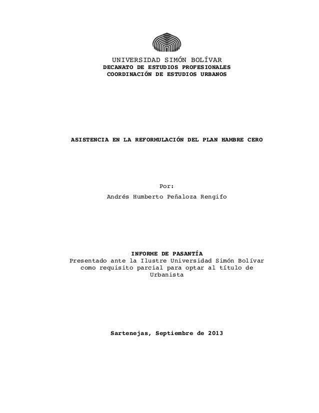 UNIVERSIDAD SIMÓN BOLÍVAR DECANATO DE ESTUDIOS PROFESIONALES COORDINACIÓN DE ESTUDIOS URBANOS  ASISTENCIA EN LA REFORMULAC...