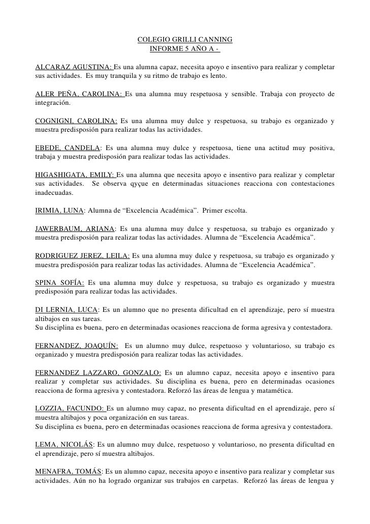 COLEGIOGRILLICANNING                                          INFORME5AÑOA  ALCARAZAGUSTINA:Esunaalumnacapaz,...