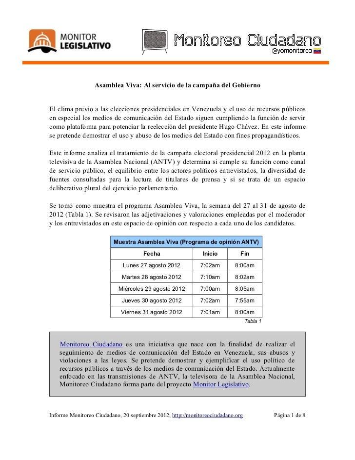 Asamblea Viva: Al servicio de la campaña del GobiernoEl clima previo a las elecciones presidenciales en Venezuela y el uso...