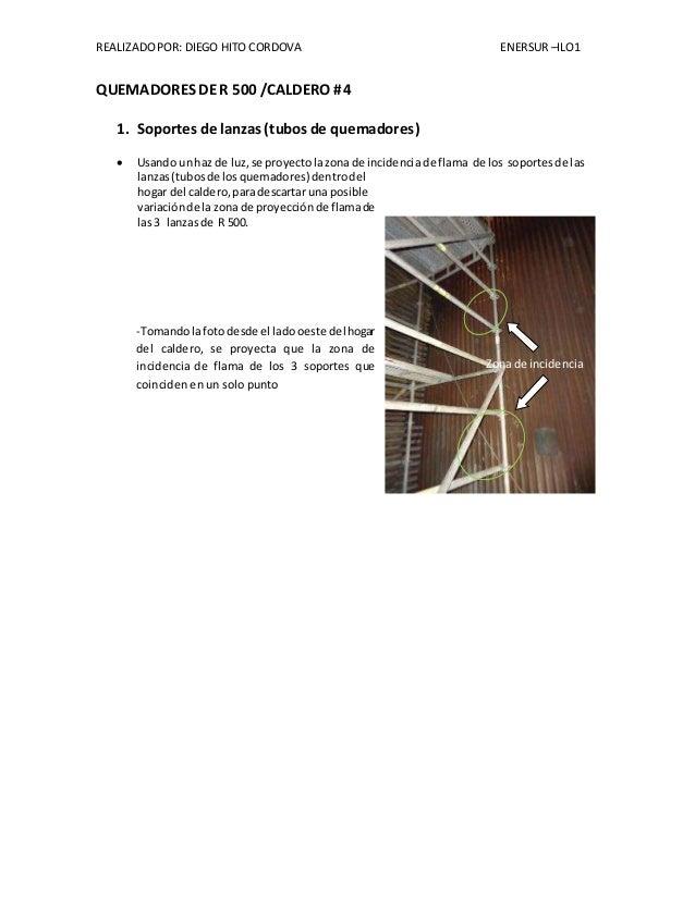 REALIZADO POR: DIEGO HITO CORDOVA ENERSUR –ILO1  QUEMADORES DE R 500 /CALDERO # 4  1. Soportes de lanzas (tubos de quemado...