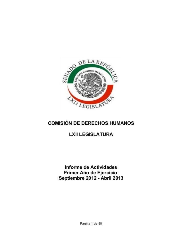 Informe CDH 1er Año de Ejercicio LXII