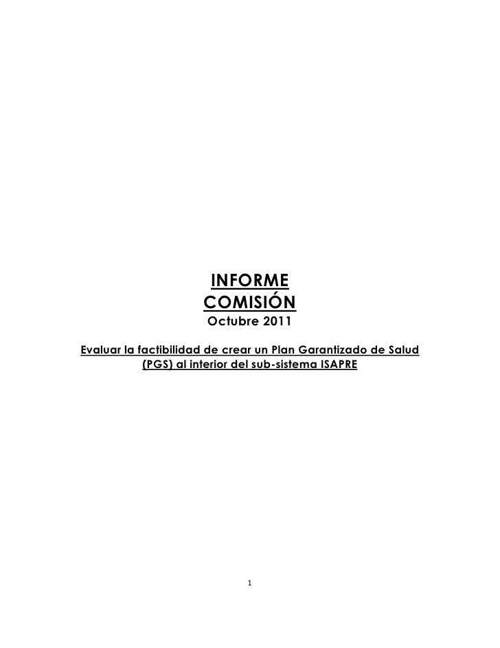 Informe comisión plan garantizado de salud oct 2011