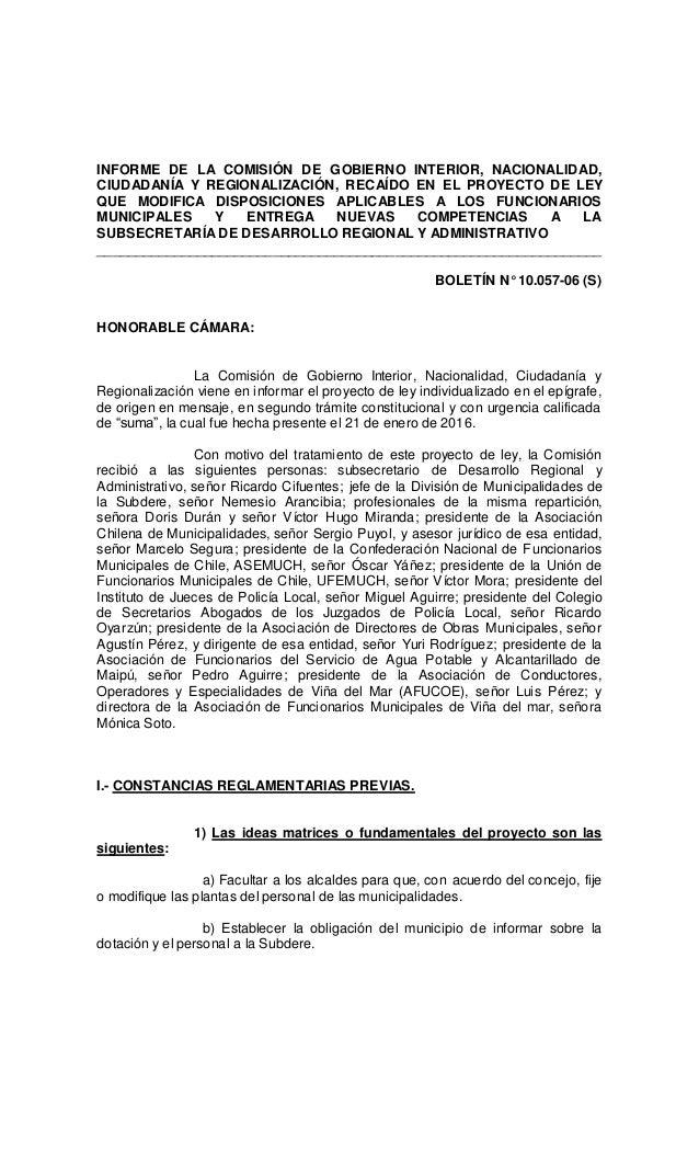 Informe de la comisi n de gobierno interior proyecto for Gobierno interior