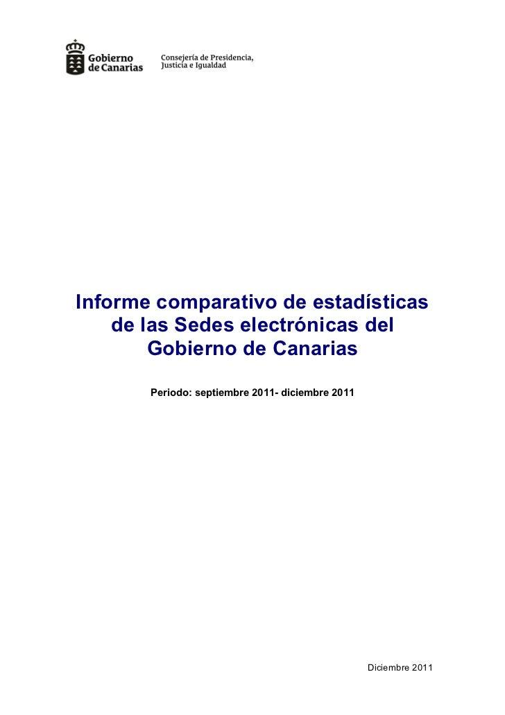 Informe comparativo de estadísticas    de las Sedes electrónicas del        Gobierno de Canarias       Periodo: septiembre...