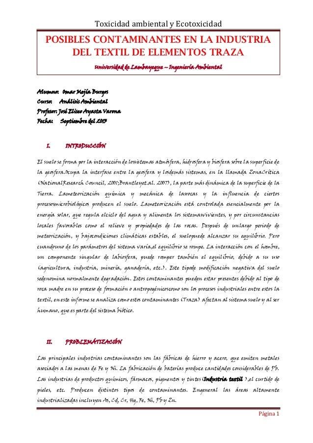 Toxicidad ambiental y Ecotoxicidad Página 1 POSIBLES CONTAMINANTES EN LA INDUSTRIA DEL TEXTIL DE ELEMENTOS TRAZA Universid...