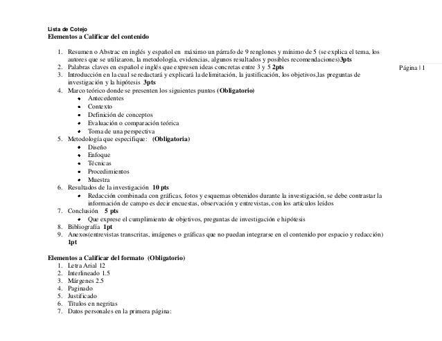 Lista de CotejoPágina   1Elementos a Calificar del contenido1. Resumen o Abstrac en inglés y español en máximo un párrafo ...