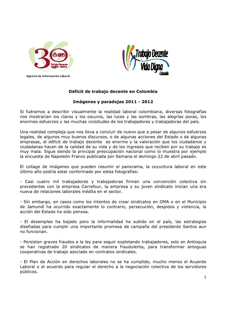 Agencia de Información Laboral                                Déficit de trabajo decente en Colombia                      ...