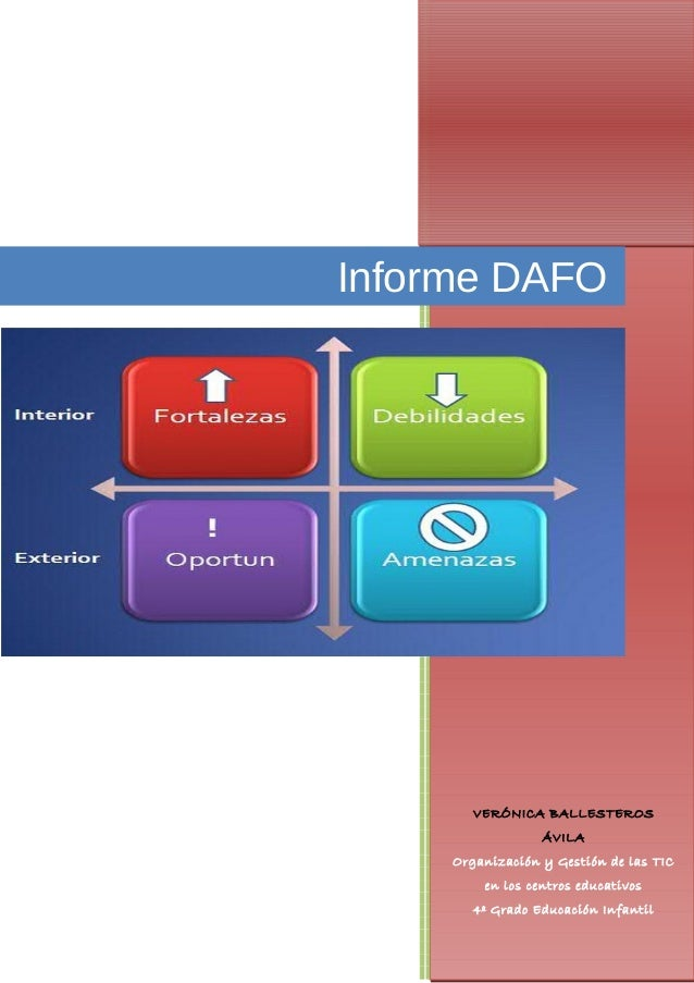 Informe DAFO        VERÓNICA BALLESTEROS                  ÁVILA     Organización y Gestión de las TIC         en los centr...