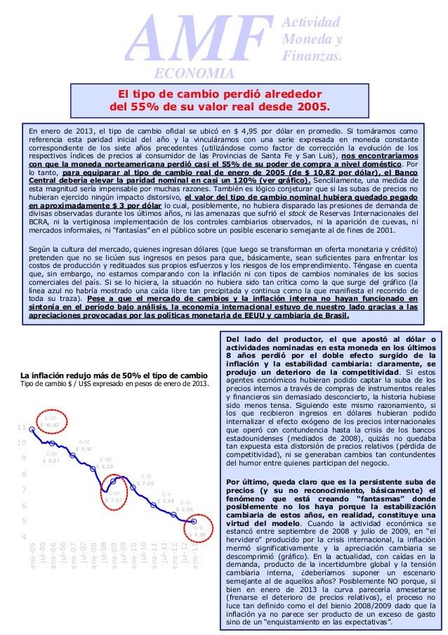 Informe de AMF sobre el atraso cambiario
