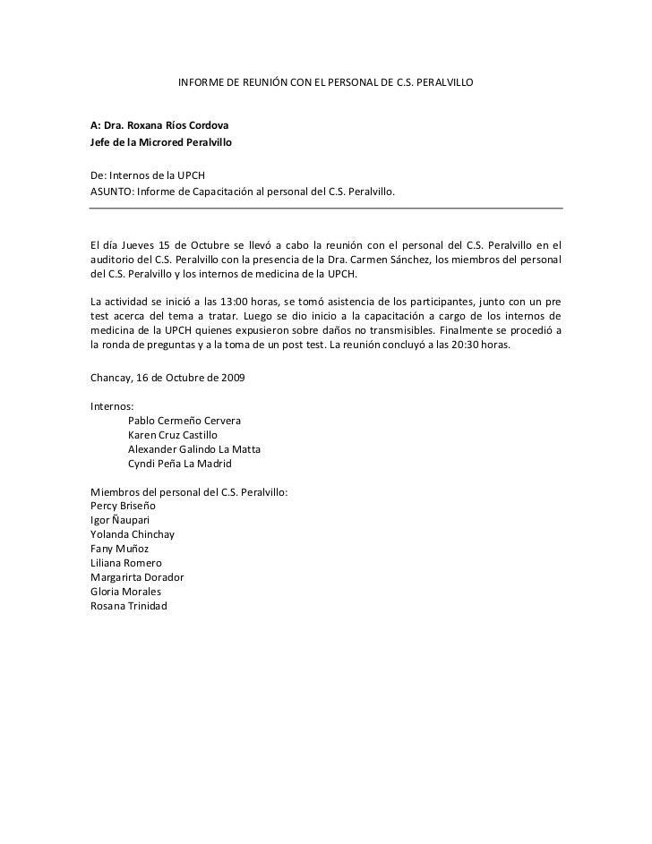 INFORME DE REUNIÓN CON EL PERSONAL DE C.S. PERALVILLO<br />A: Dra. Roxana Ríos Cordova<br />Jefe de la Microred Peralvillo...