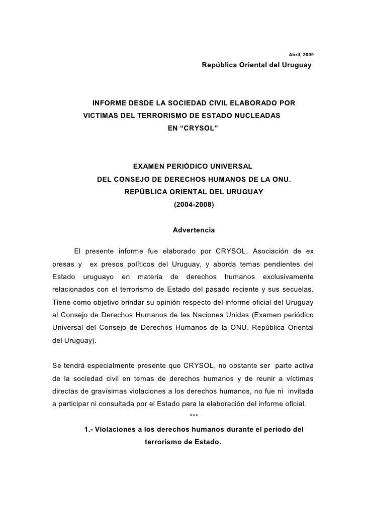 Abril, 2009                                                   República Oriental del Uruguay                  INFORME DESD...