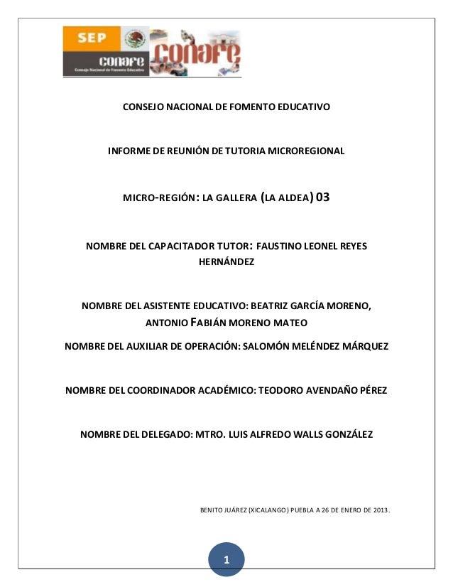 CONSEJO NACIONAL DE FOMENTO EDUCATIVO       INFORME DE REUNIÓN DE TUTORIA MICROREGIONAL          MICRO-REGIÓN: LA GALLERA ...