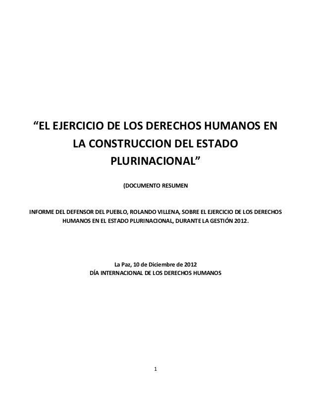 Informe defensorial 10 de diciembre resumen