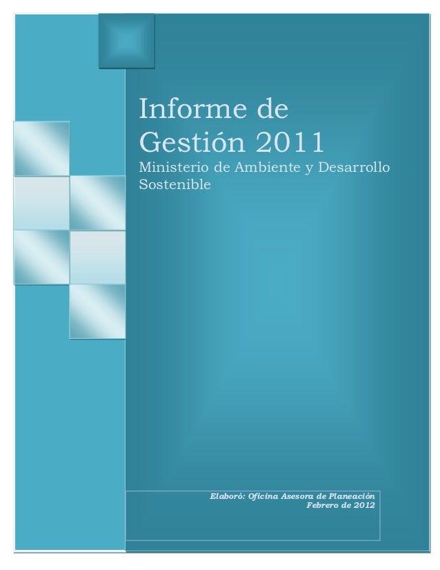 Informe de gestión_2011_ministerio_ambiente_y_desarrollo_sostenible