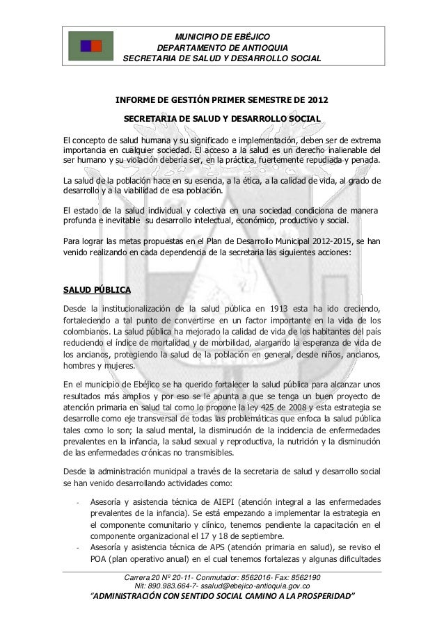 MUNICIPIO DE EBÉJICO                      DEPARTAMENTO DE ANTIOQUIA                SECRETARIA DE SALUD Y DESARROLLO SOCIAL...