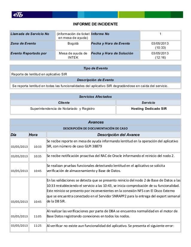 Informe de incidentes 03 05-2013
