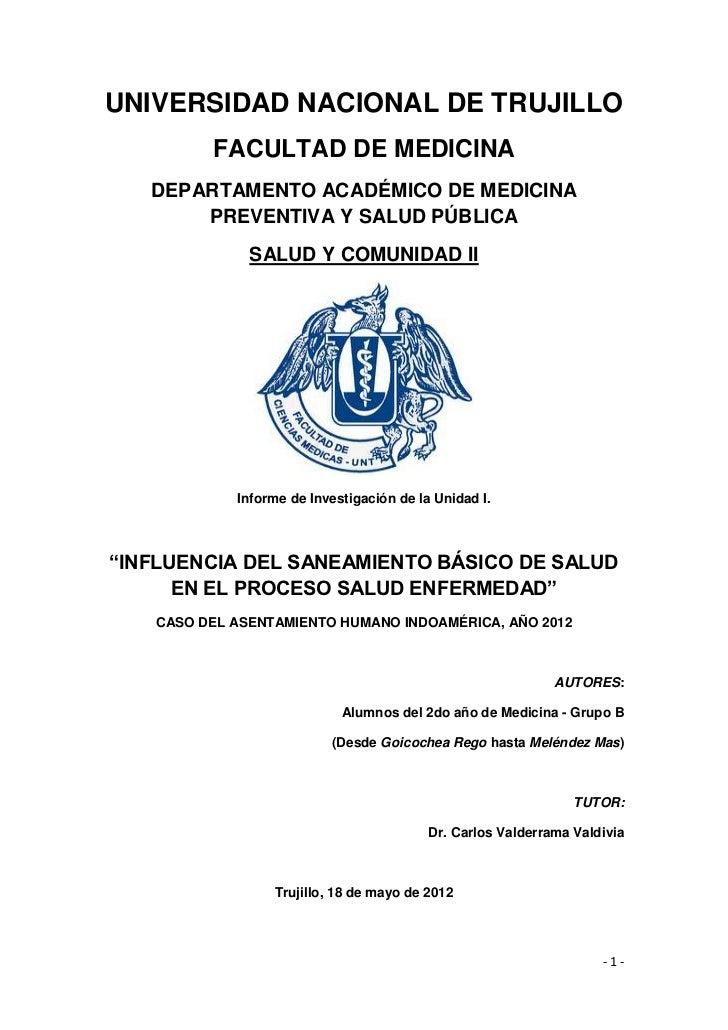 UNIVERSIDAD NACIONAL DE TRUJILLO         FACULTAD DE MEDICINA   DEPARTAMENTO ACADÉMICO DE MEDICINA       PREVENTIVA Y SALU...