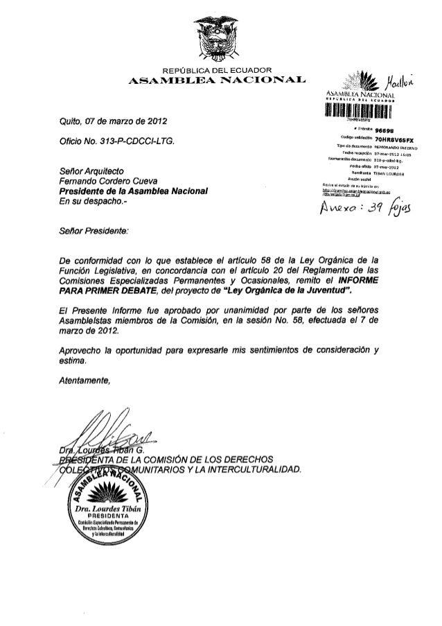 Quito, 07 de narzo de 2012 Of¡c¡o No. 31 XP-CDCCI-LTG. Señor Arqu¡tecto Fernando Cordero Cueva Presidente de ta Asambtea N...
