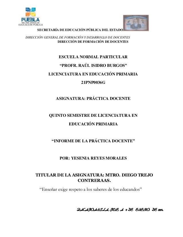 Informe de la práctica docente del 2 grado...