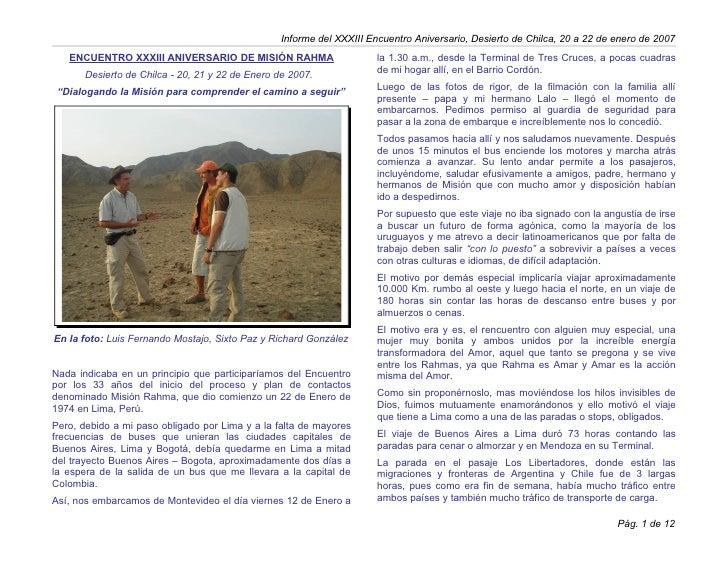 Informe del XXXIII Encuentro Aniversario, Desierto de Chilca, 20 a 22 de enero de 2007   ENCUENTRO XXXIII ANIVERSARIO DE M...