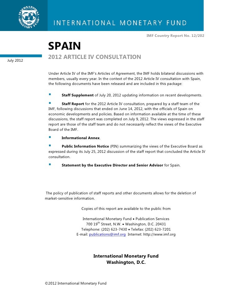 IMF Country Report No. 12/202             SPAINJuly 2012             2012 ARTICLE IV CONSULTATION              Under Artic...