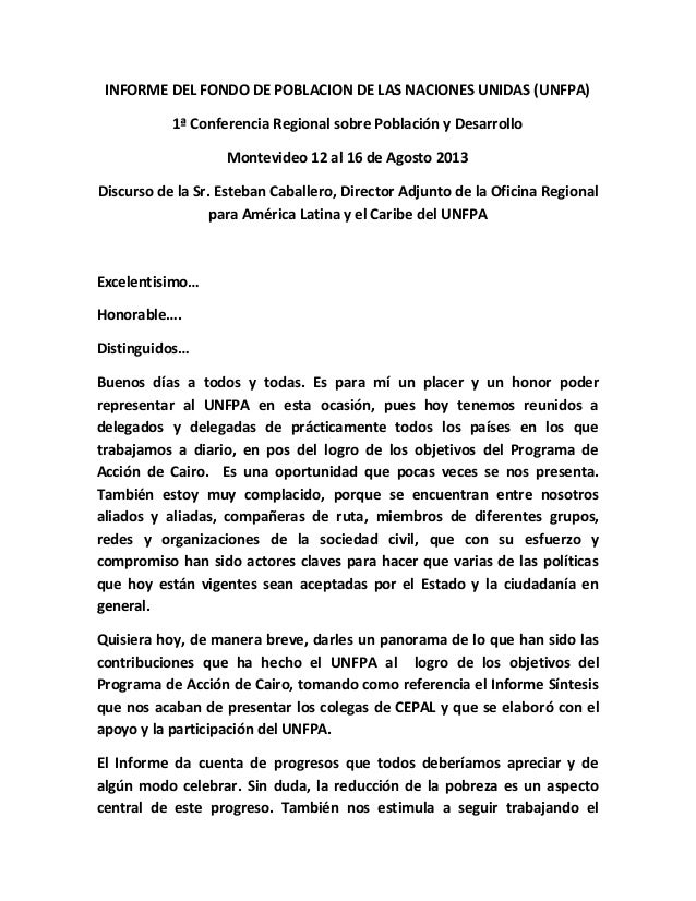 INFORME DEL FONDO DE POBLACION DE LAS NACIONES UNIDAS (UNFPA) 1ª Conferencia Regional sobre Población y Desarrollo Montevi...
