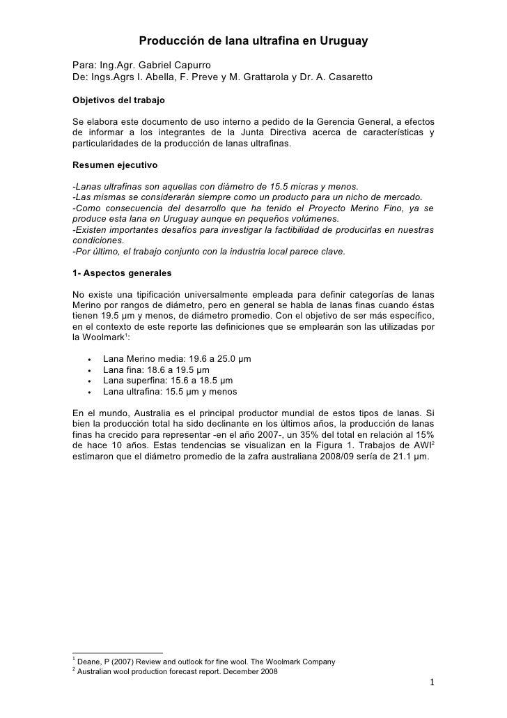 Informe De Merino Ultrafino Sul