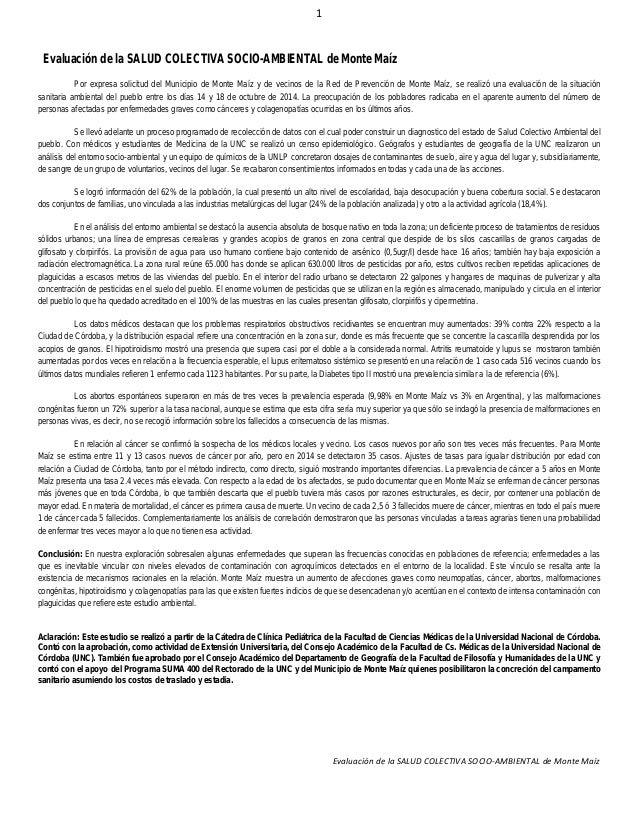 1 Evaluación de la SALUD COLECTIVA SOCIO-AMBIENTAL de Monte Maíz Evaluación de la SALUD COLECTIVA SOCIO-AMBIENTAL de Monte...