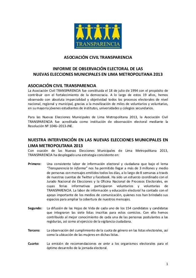 Informe de Observación Electoral NEM - Lima 2013