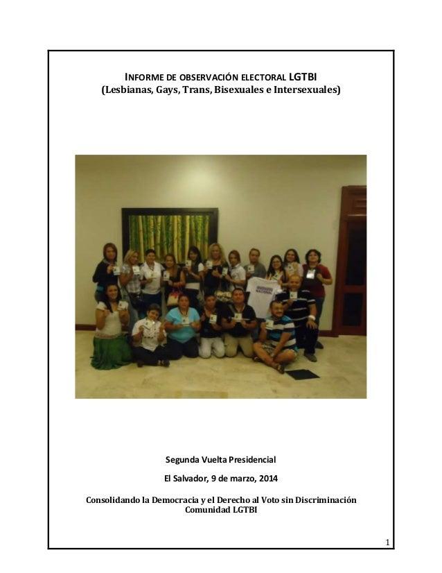 Informe de observacion electoral segunda vuelta 9 de marzo 2014 El Salvador
