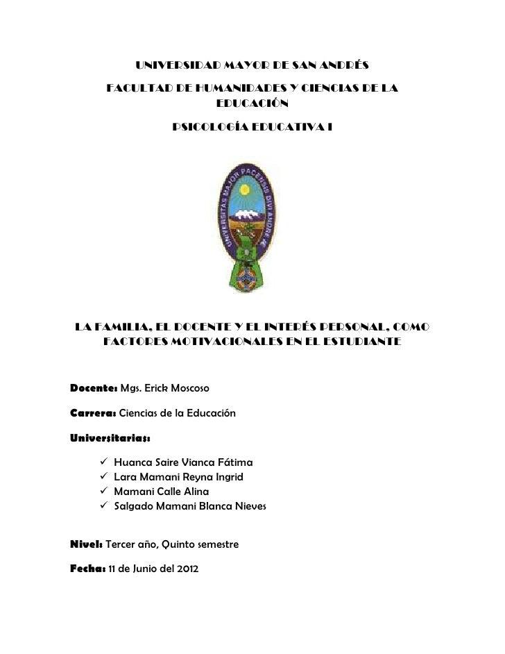 UNIVERSIDAD MAYOR DE SAN ANDRÉS       FACULTAD DE HUMANIDADES Y CIENCIAS DE LA                     EDUCACIÓN              ...