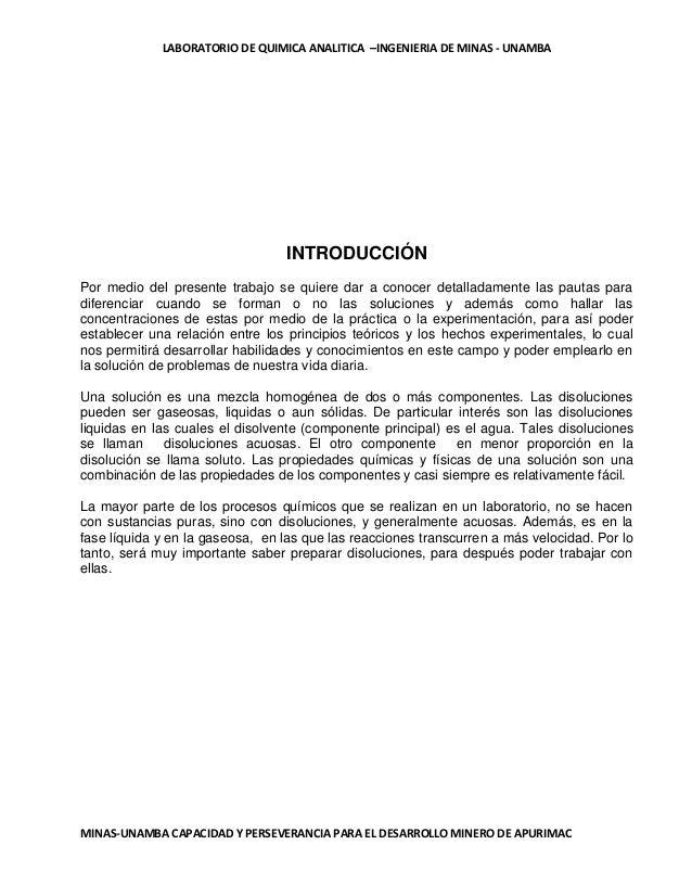 LABORATORIO DE QUIMICA ANALITICA –INGENIERIA DE MINAS - UNAMBA  INTRODUCCIÓN Por medio del presente trabajo se quiere dar ...