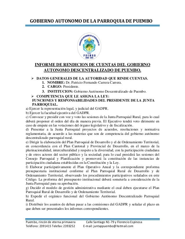 GOBIERNO AUTONOMO DE LA PARROQUIA DE PUEMBO      INFORME DE RENDICION DE CUENTAS DEL GOBIERNO          AUTONOMO DESCENTRAL...
