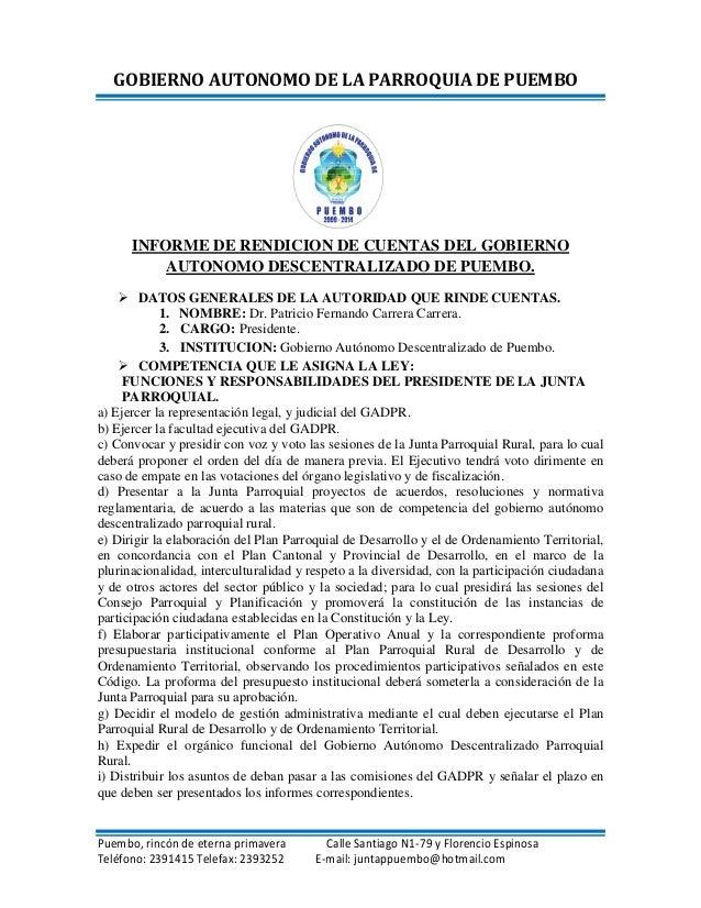 Informe de Rendición de Cuentas 2012