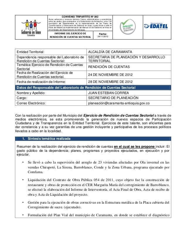 Informe de rendición de cuentas del 24 de noviembre de 2012 por planeación municipal