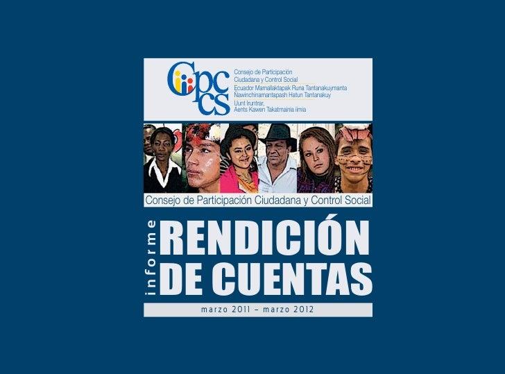 CPCCS rinde cuentas a la ciudadanía - Marzo 2012