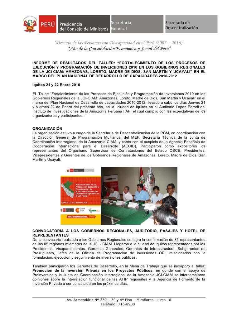 CIAM Informe De Resultados Del Taller En Iquitos