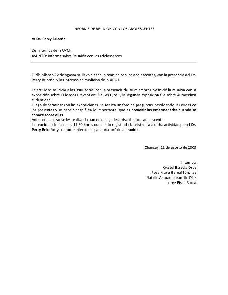 Informe De ReunióN Con Los Adolescentes