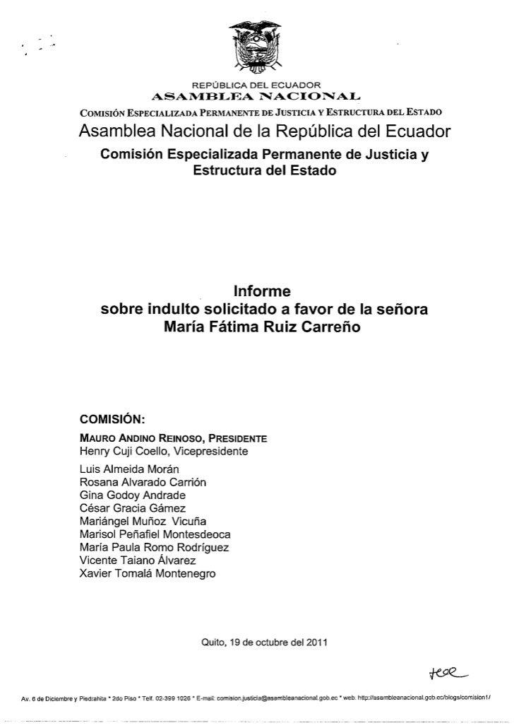 Informe desfavorable: Solicitud de Indulto a María Fátima Ruiz Carreño