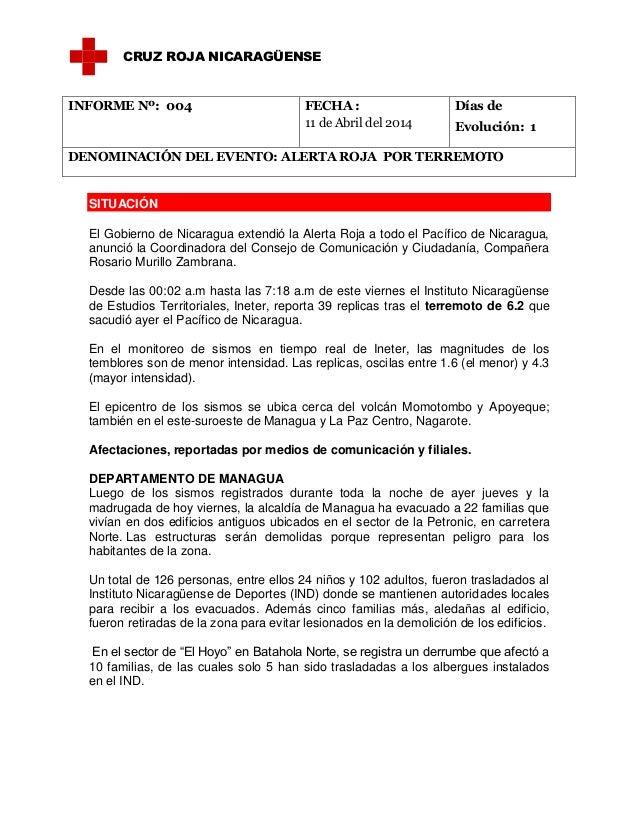 Informe de situación 04  sismo 11 de abril 2014